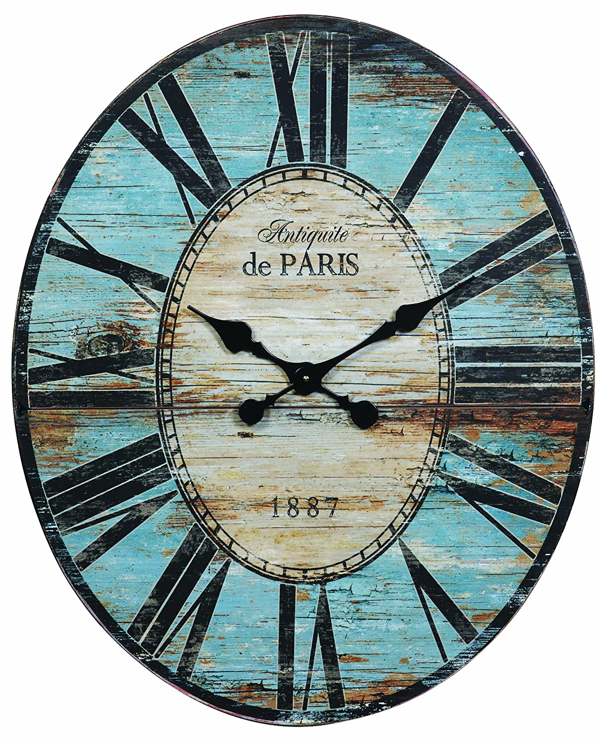 Amazon creative co op antiquite de paris wood oval wall clock amazon creative co op antiquite de paris wood oval wall clock 295 by 24 14 inch home kitchen amipublicfo Gallery