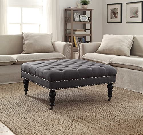 Linon Isabelle Square Ottoman in Charcoal