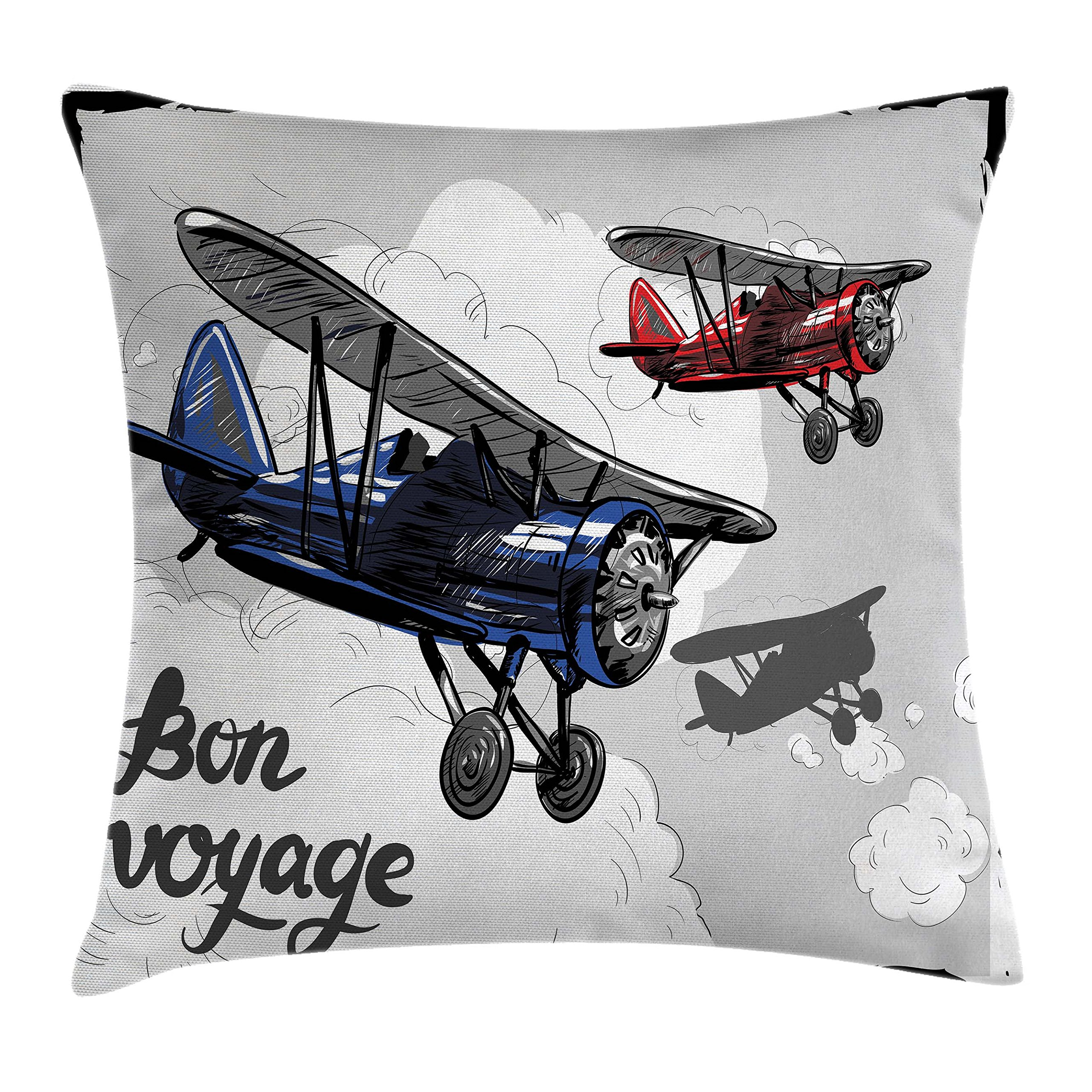 Ambesonne Going Away Party Throw Pillow Cushion Cover, Retro Airplane Poster Inspired Bon Voyage Lets Travel Fly Vintage Print, Decorative Square Accent Pillow Case, 36 X 36 Inches, Blue Red Grey