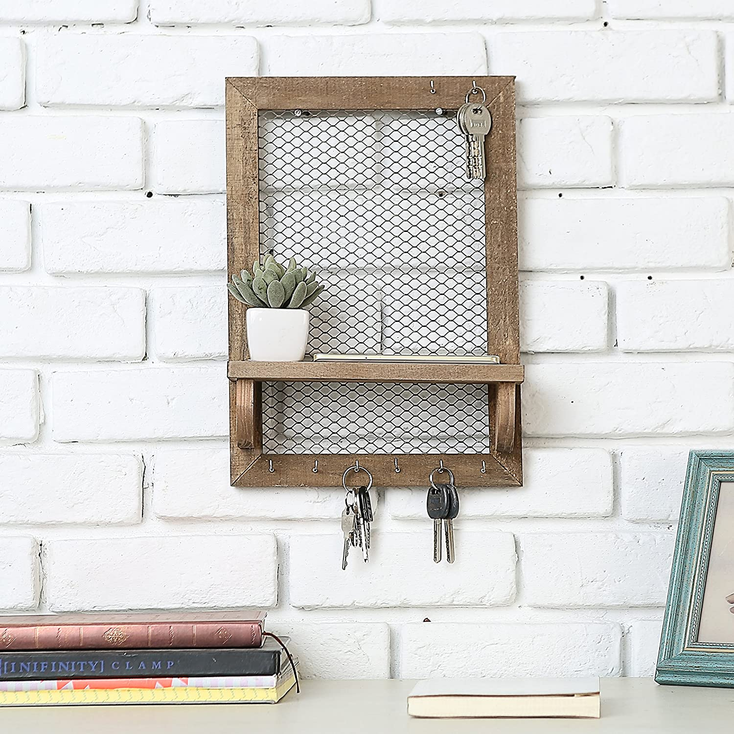 Amazon.com: 8 Hook Wood and Metal Chicken Wire Wall Mounted Jewelry ...