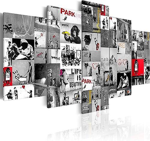 artgeist Handart Canvas Wall Art Banksy 225×112 cm / 88.58″x44.3″ 5 pcs Painting Canvas Prints Picture Artwork Image Framed Contemporary Modern Photo Wall Home i-C-0092-b-p
