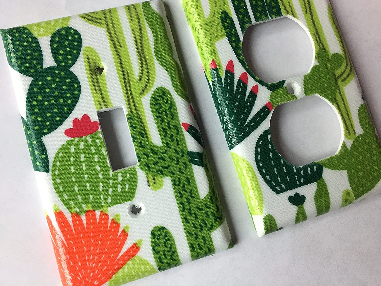 Green Succulent And Cactus Light Switch Plate Cover - Various Sizes Offered