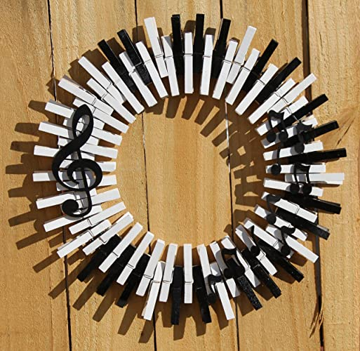 Handmade piano music clothespin wreath