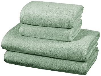 AmazonBasics - Juego de 4 toallas de secado rápido, 2 toallas de baño y 2 toallas de mano - Verde: Amazon.es: Hogar