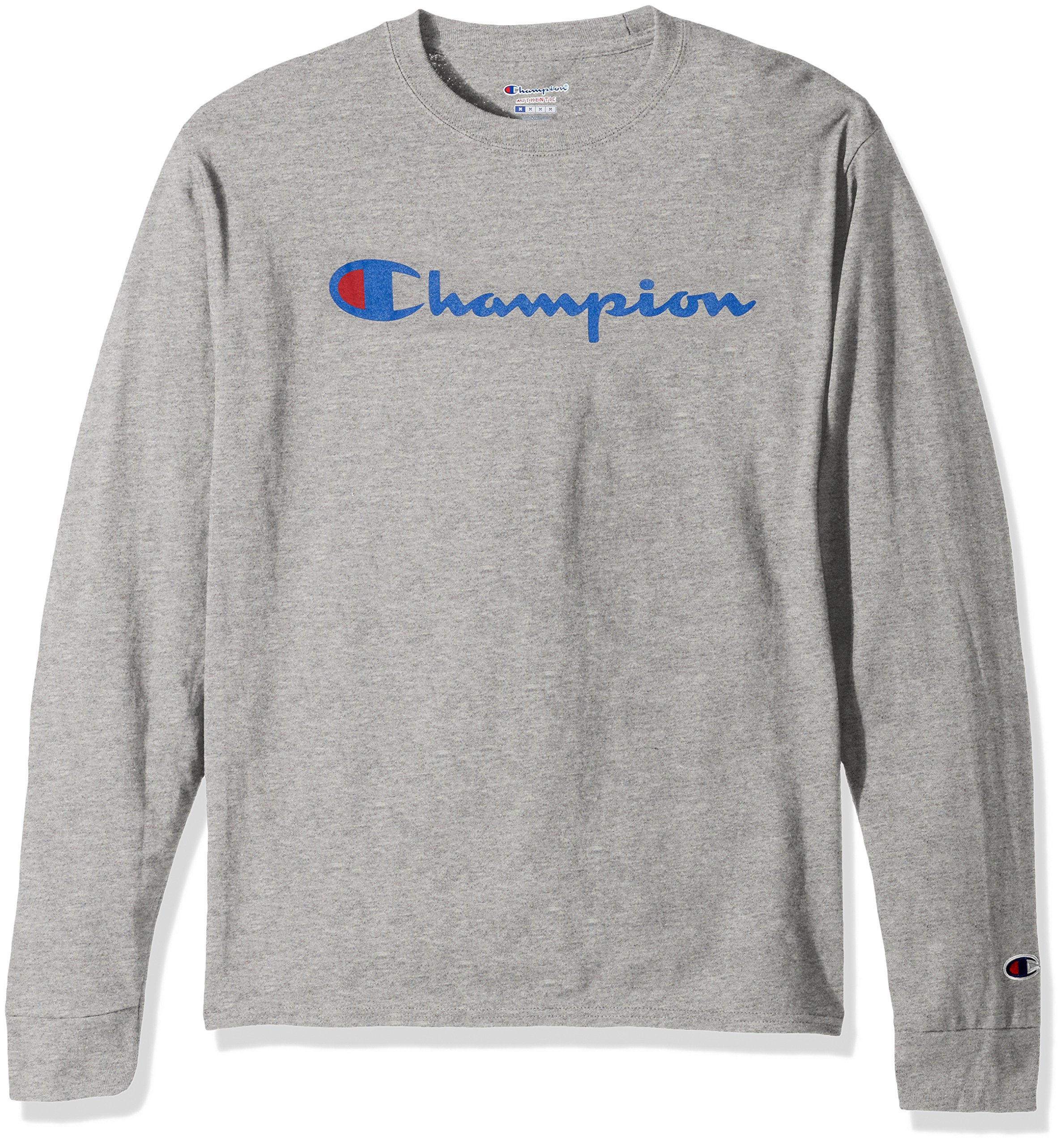 Champion LIFE Men's Cotton Long Sleeve Tee, Oxford Gray/Patriotic Script, Large