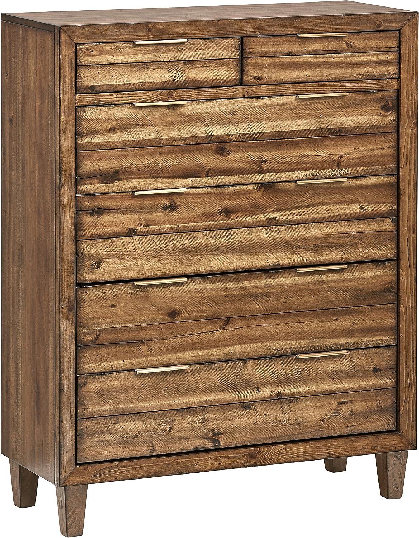 Stone & Beam Bateman Casual Rustic Wood Bedroom Dresser, Brass Hardware, 42 Inch Wide, Brown