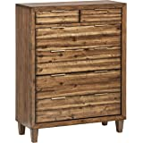 Amazon Brand – Stone & Beam Bateman Casual Rustic Wood Bedroom Dresser, Brass Hardware, 42 Inch Wide, Brown