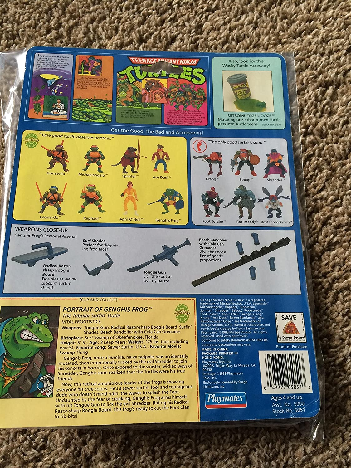 1990 TMNT GENGHIS FROG Figure Teenage Mutant Ninja Turtles ...