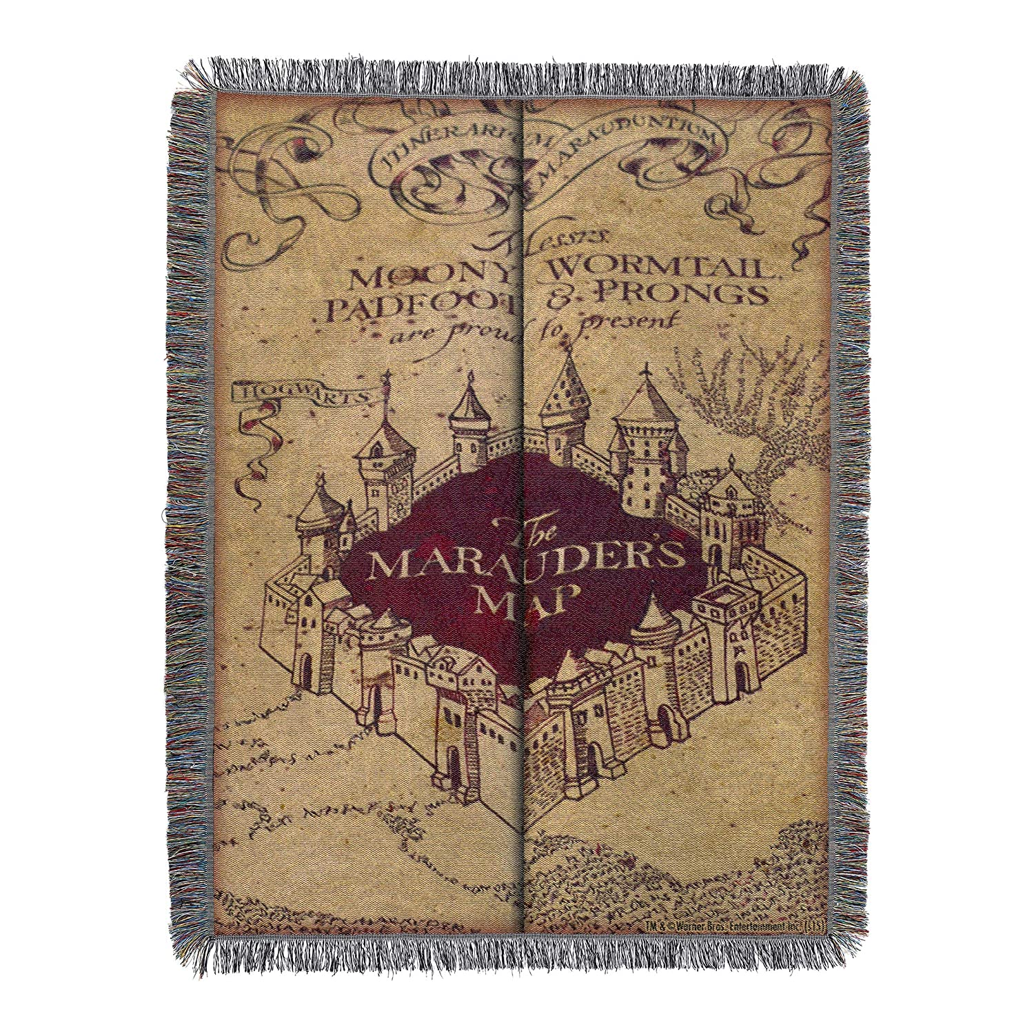 "Harry Potter, ""Marauder's Map"" Woven Tapestry Throw Blanket, 48"" x 60"""