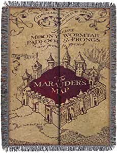 Harry Potter Woven Tapestry Throw Blanket, 48 x 60 Inches, Marauder's Map