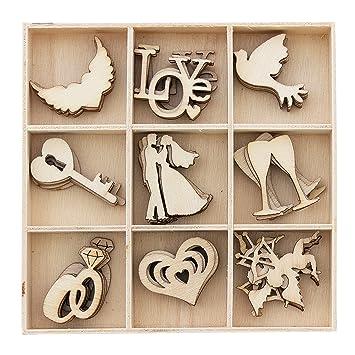 Adorno de madera para manualidades o bodas, forma de MDF en una caja, 5