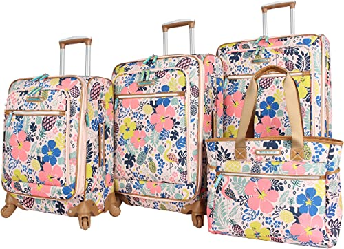 Lily Bloom Luggage Set 4 Piece Suitcase Collection With Spinner Wheels For Woman Trop Pineapple