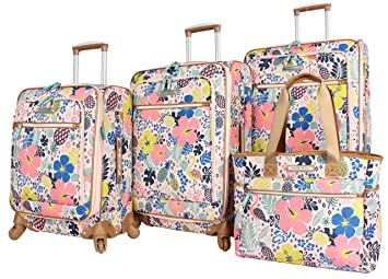 7ebb4c86dba5 Lily Bloom Luggage Set 4 Piece Suitcase Collection With Spinner Wheels For  Woman (Trop Pineapple)