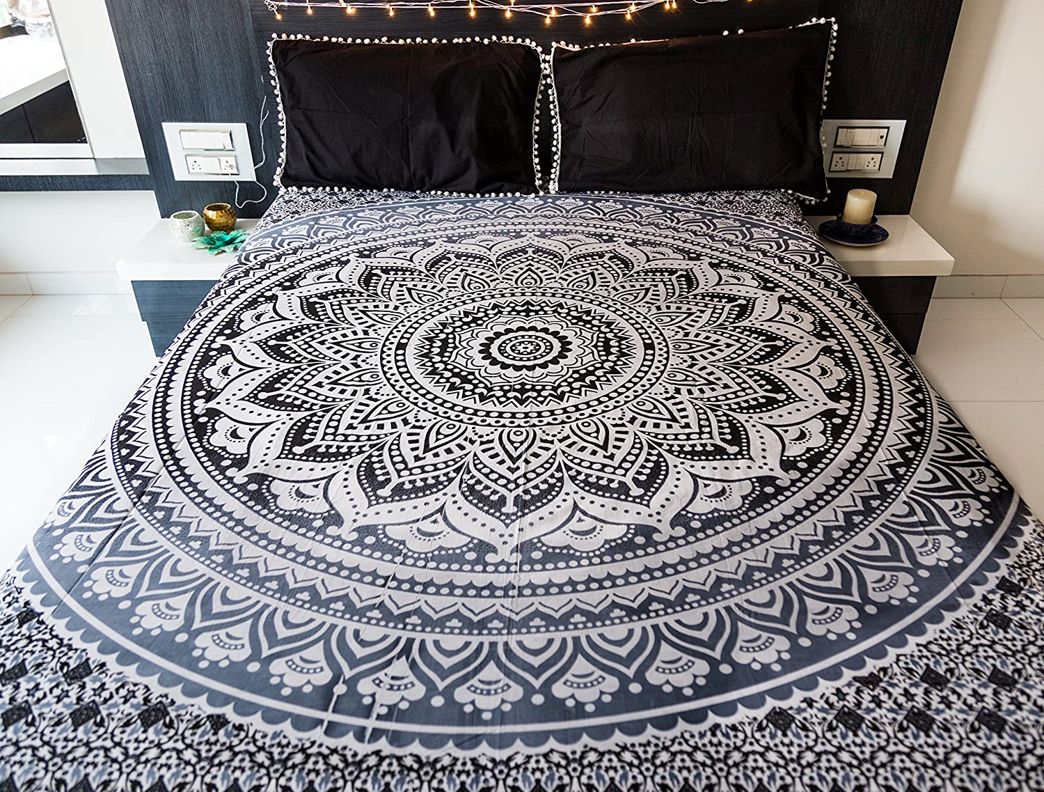 ... Indian Bohemian Hippie Tapestry Wall Hanging, Hippy Blanket Or Beach  Throw, Mandala Ombre Bedspread For Bedroom, Black Gray Queen Size Boho  Decor: Home ...