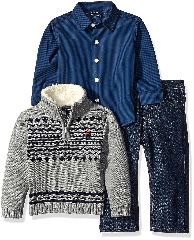 Nautica Baby Boys' Zip Sweater, Long Sleeve Shirt, and Denim Pant Set N130D52Q