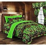 Regal Comfort Bio Hazard Green Camouflage Queen 8pc Premium Luxury Comforter,  Sheet, Pillowcases,