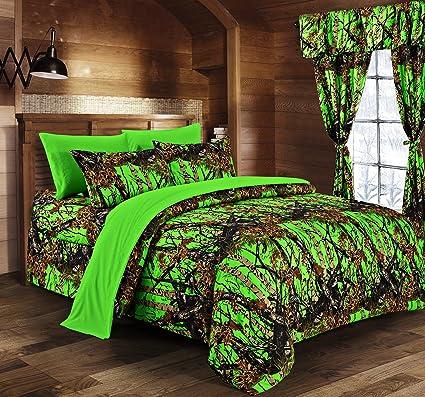 Regal Comfort The Woods Bio Hazard Green Camouflage Queen 8pc Premium Luxury Comforter Sheet