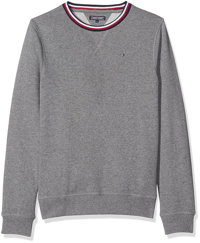Tommy Hilfiger Boy's Ame Tommy Cn Hwk L/S Sweatshirt Grey (Mid Grey Htr) 7 Years KB0KB03371