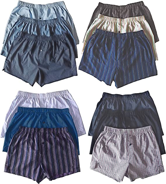 M/&S Mens Pack of 3 Blue Pure Cotton Woven Underwear Boxer Shorts Trunks S-XXL