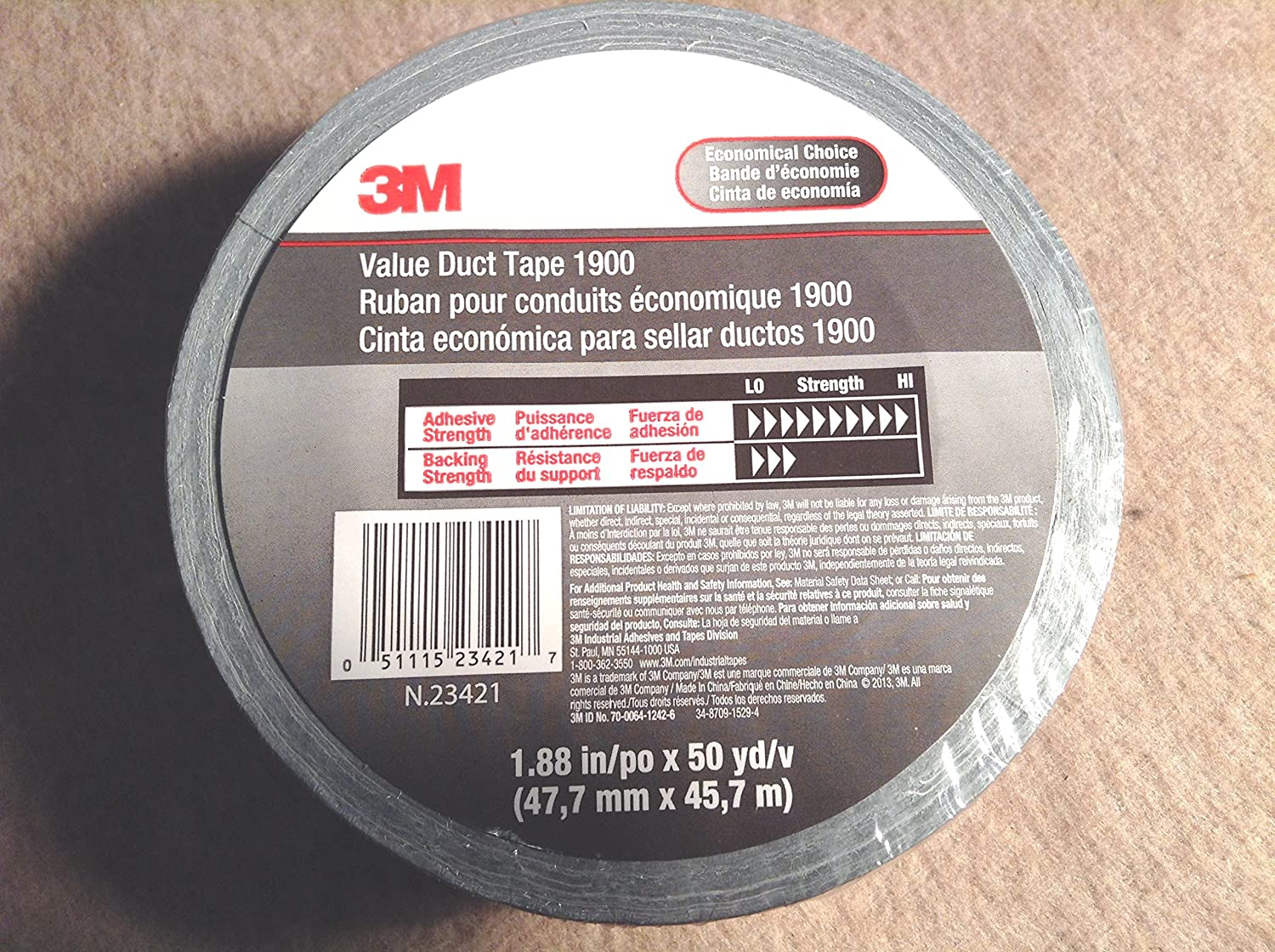 """3M 1900 Value Utility Duct Tape 1.88"""" x 50 Yd"""