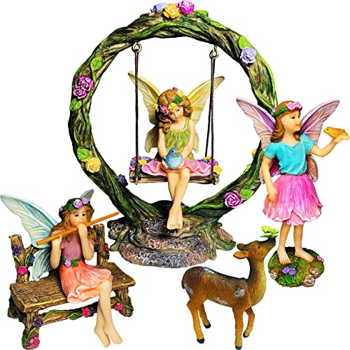 Mood Lab Fairy Garden Kit – Miniature Figurines with Accessories Swing Set of 6 pcs – Hand Painted for Outdoor or House Decor