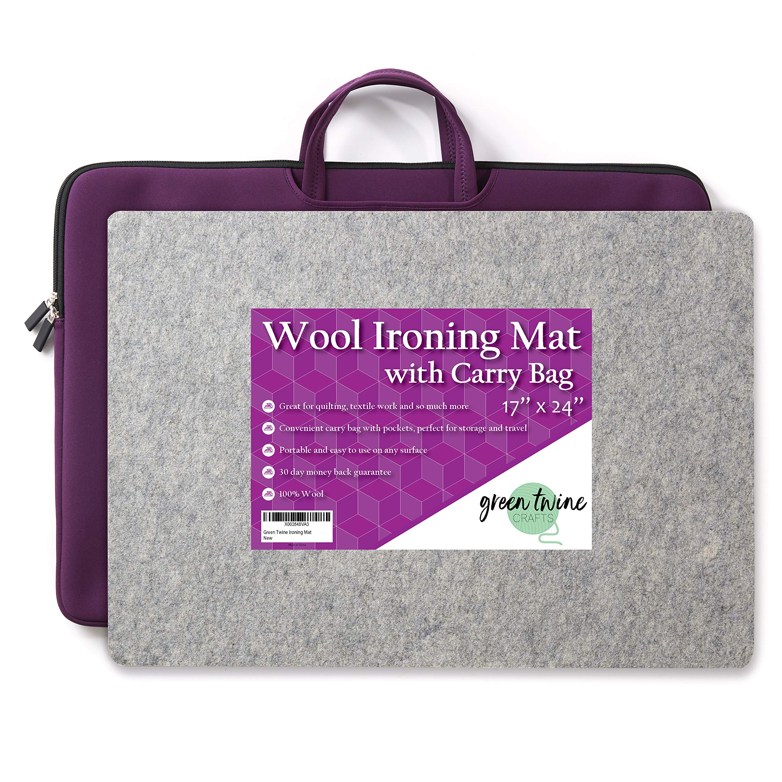 17'' x 24'' Ironing Mat with Carry Bag - 100 % Wool 1/2'' Thick Felted Portable Pressing Pad for Quilting or Textiles. Convenient Travel and Storage Carrier with Pockets for Classes and Retreats by Green Twine