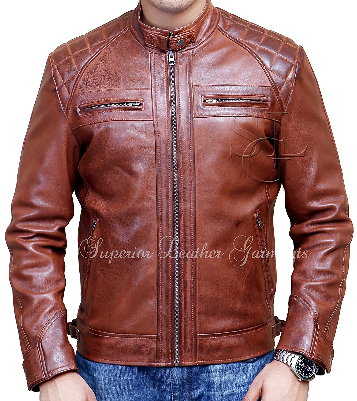 Men's Biker Quilted Vintage Distressed Motorcycle Cafe Racer Leather Jacket