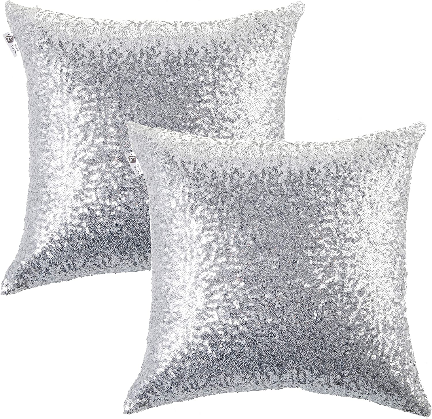 Kevin Textile Decorative Glitzy Sequin & Comfy Satin Solid Throw Pillow Cover Sham 18 Inch Square Pillow Case, Hidden Zipper Design, (2 Packs,Silver)