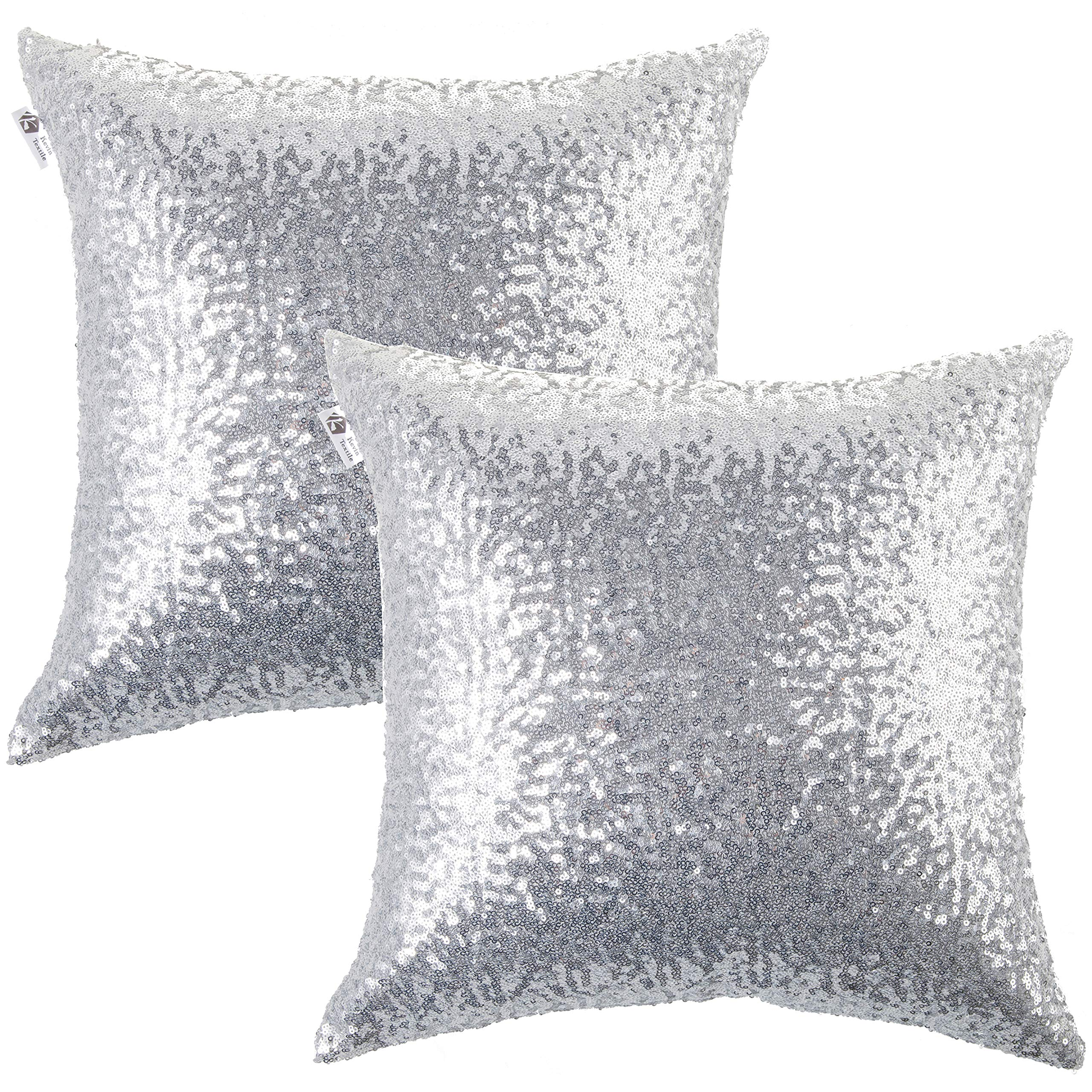 Kevin Textile Decorative Glitzy Sequin & Comfy Satin Solid Throw Pillow Cover Sham 18 Inch Square Pillow Case, Hidden Zipper Design, (2 Packs,Silver) by Kevin Textile