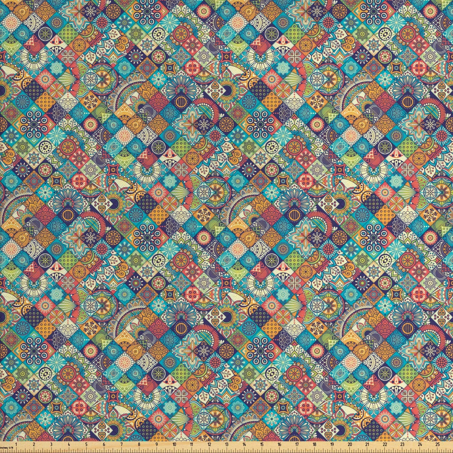 Ambesonne Bohemian Fabric by The Yard, Geometric Pattern with Ornamental Floral Folk Art Abstract, Decorative Fabric for Upholstery and Home Accents, 1 Yard, Blue Cream