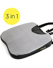 Car Seat Cushion with Strap - Auto Wedge   Memory Foam   Coccyx Support for Back, Hip, Leg Pain   for Drivers, Office Chairs, Wheelchairs   Breathable, Washable Cover