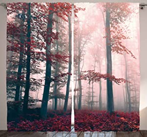 Ambesonne Living Room Curtains Autumn Decor by, Mystical Foggy Forest and Enchanted Woods Wild Print, Window Drapes 2 Panel Set for Living Room Bedroom, 108 X 84 Inches, Red Gray and Brown