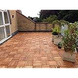 72x Extra spessa in legno massiccio di acacia a incastro, piastrelle per. Terrazzo, giardino, balcone, vasca,. 30cm, motivo: Piastrelle