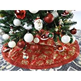 "47.2"" Red Fabric With Gold Glitter Christmas Tree Skirt - Red/Gold"