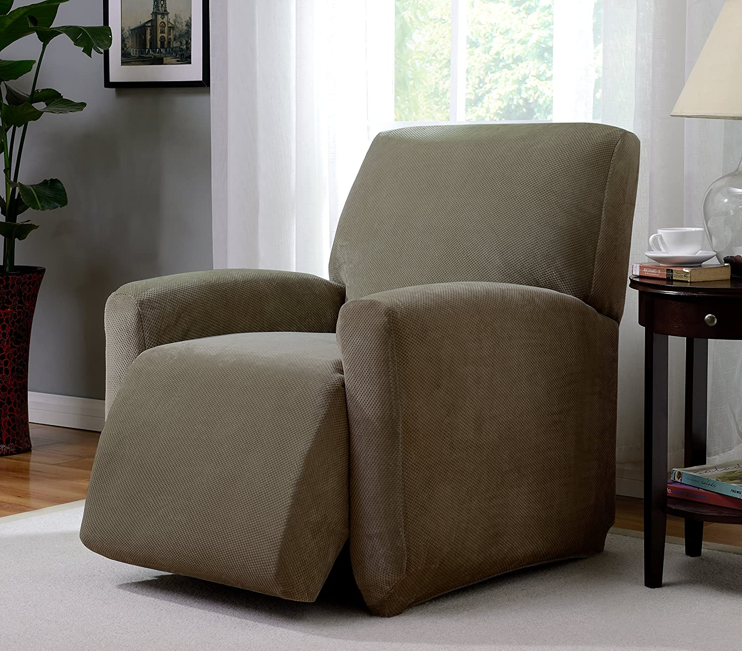 Madison PIQ-LGRECLNR-BG Stretch Pique Large Recliner Slipcover Stretch Pique Beige,Large Recliner Madison Industries