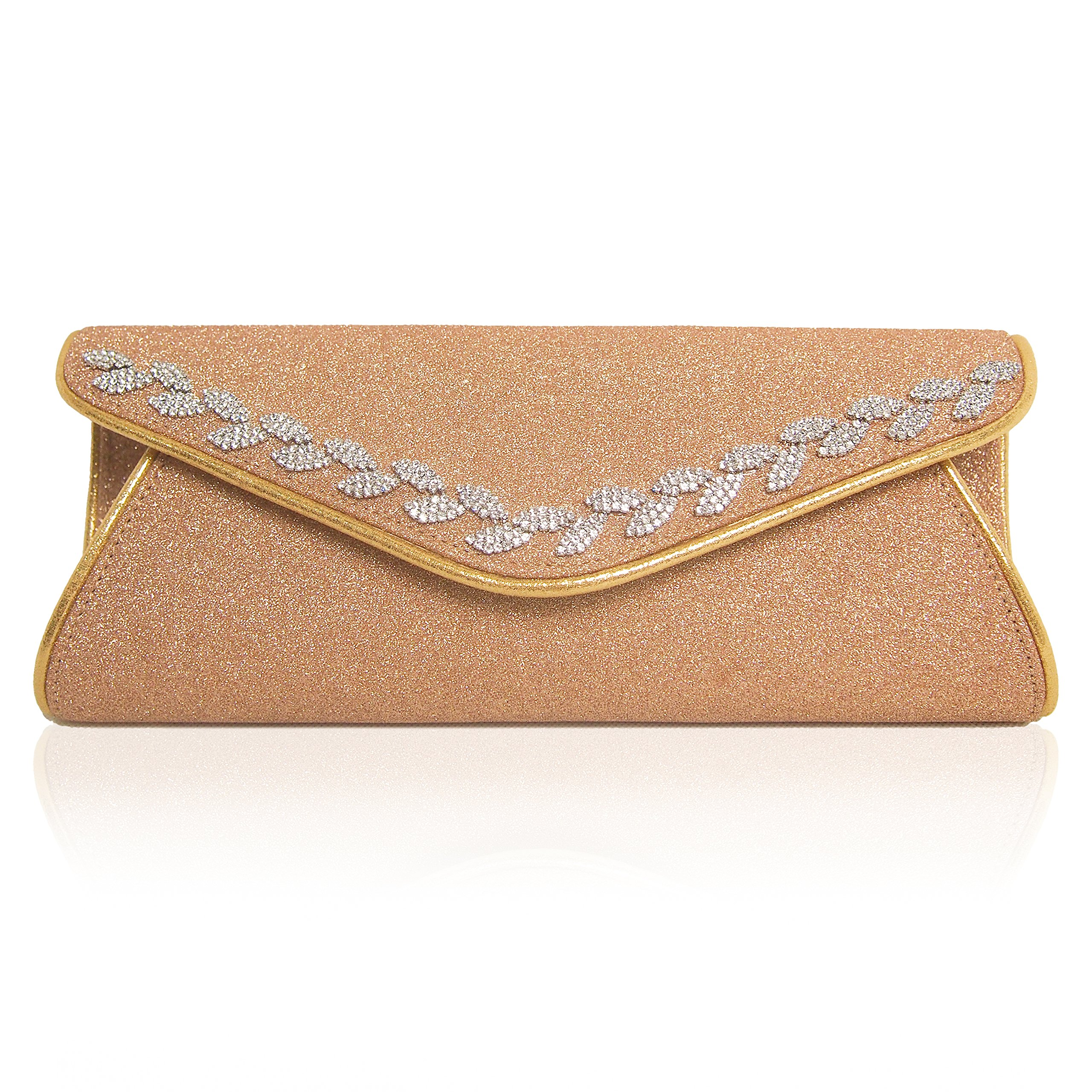 TOIHSUAN women's rhinestones sparkly evening cluthes bags for wedding-with shoulder strap (Champagne gold)