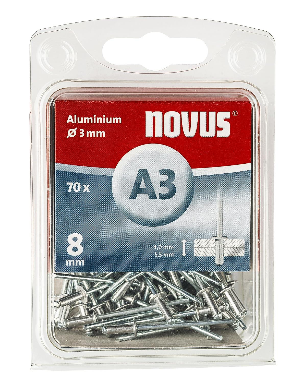 70 Nieten /Ø 3 mm 2.5-3.5 mm Klemml/änge Novus Aluminium Blindnieten 6 mm zur Befestigung von Stoffen und Leder