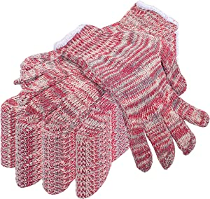 Pack of 24 String Knit Glove Liners L size. Multi-Color Protective String Knit Gloves. Regular Weight Gloves. Knitted Cotton Polyester Gloves for General. Not for Food Handling. Comfortable fit.