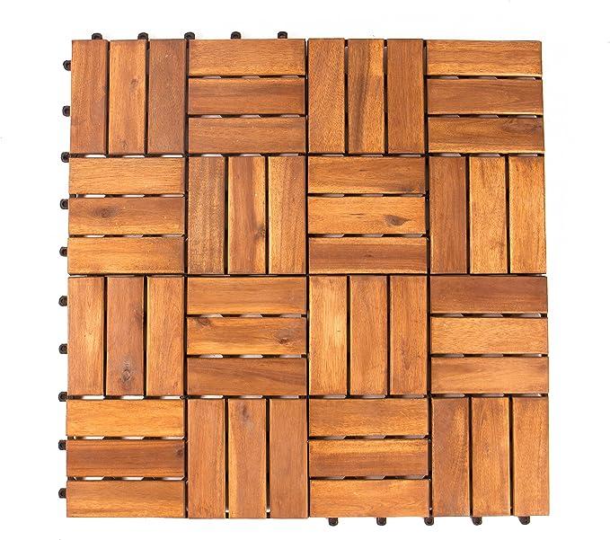 Vanage Embo/îtables et ultra simples /à installer Caillebotis en bois En bois dacacia Parfait pour terrasses et balcon Lot de 27