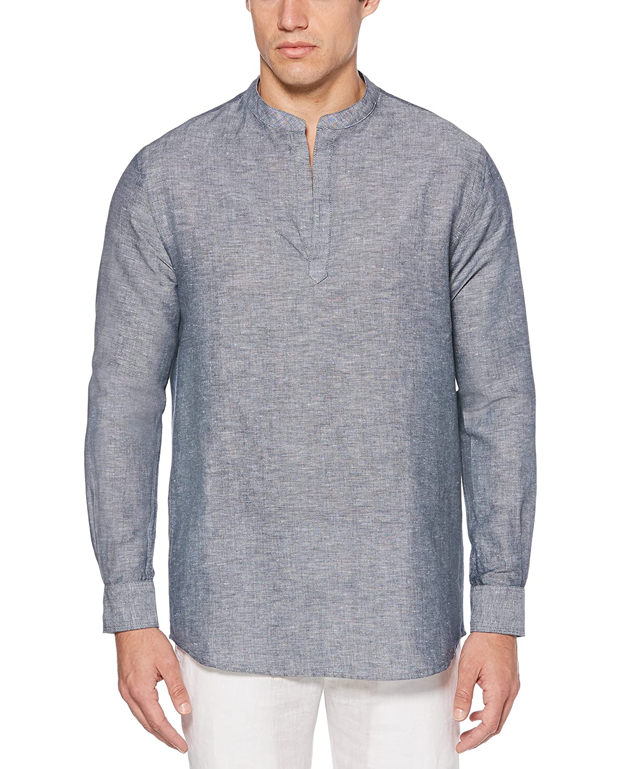 97548f38ca32 Perry Ellis Men's Long-Sleeve Solid Linen Cotton Popover Shirt at Amazon  Men's Clothing store: