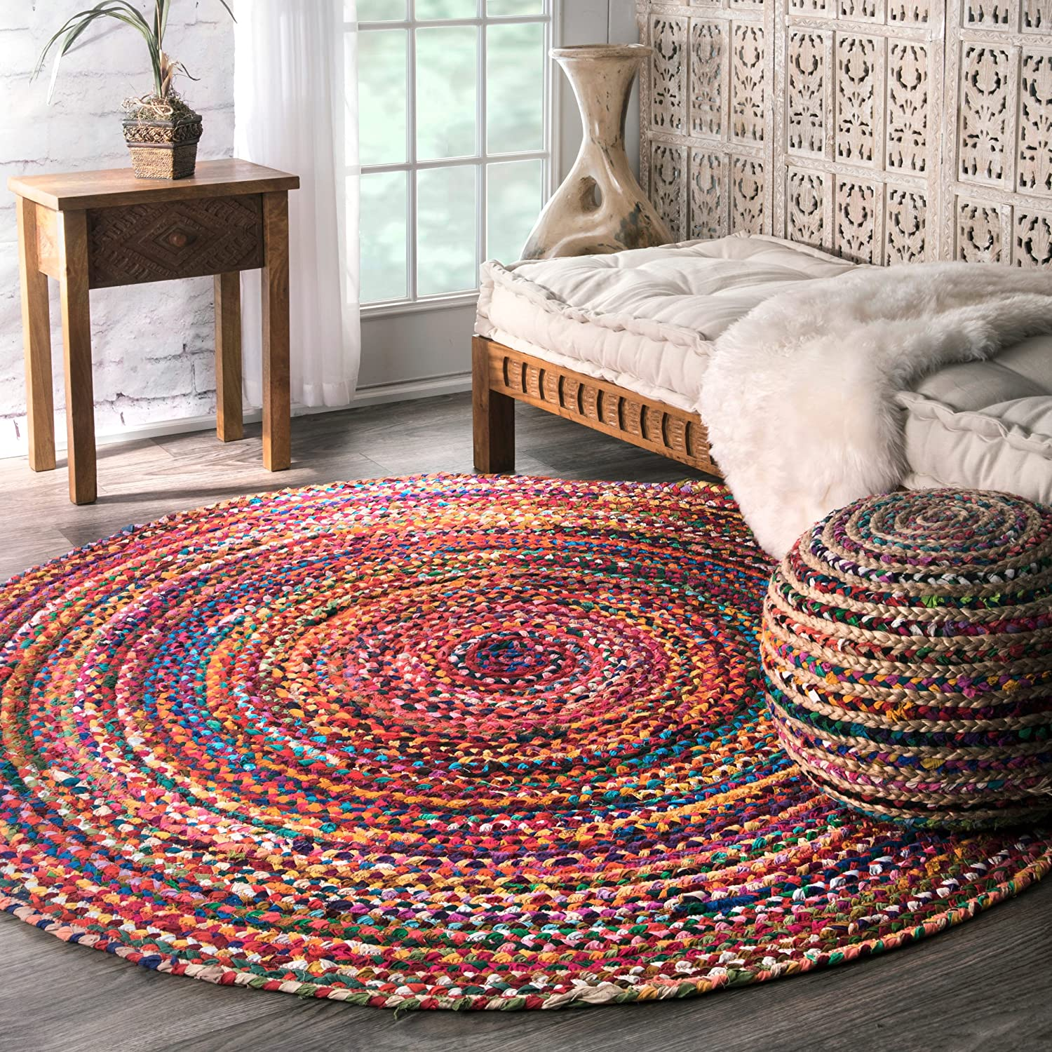 Amazon com nuloom 8 x 8 hand braided tammara round rug garden outdoor