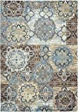 """Rizzy Home Bennington Collection Loomed Double Pointed Designs Area Rug, 5'3"""" x 7'7"""", Blue/Yellow/Brown"""