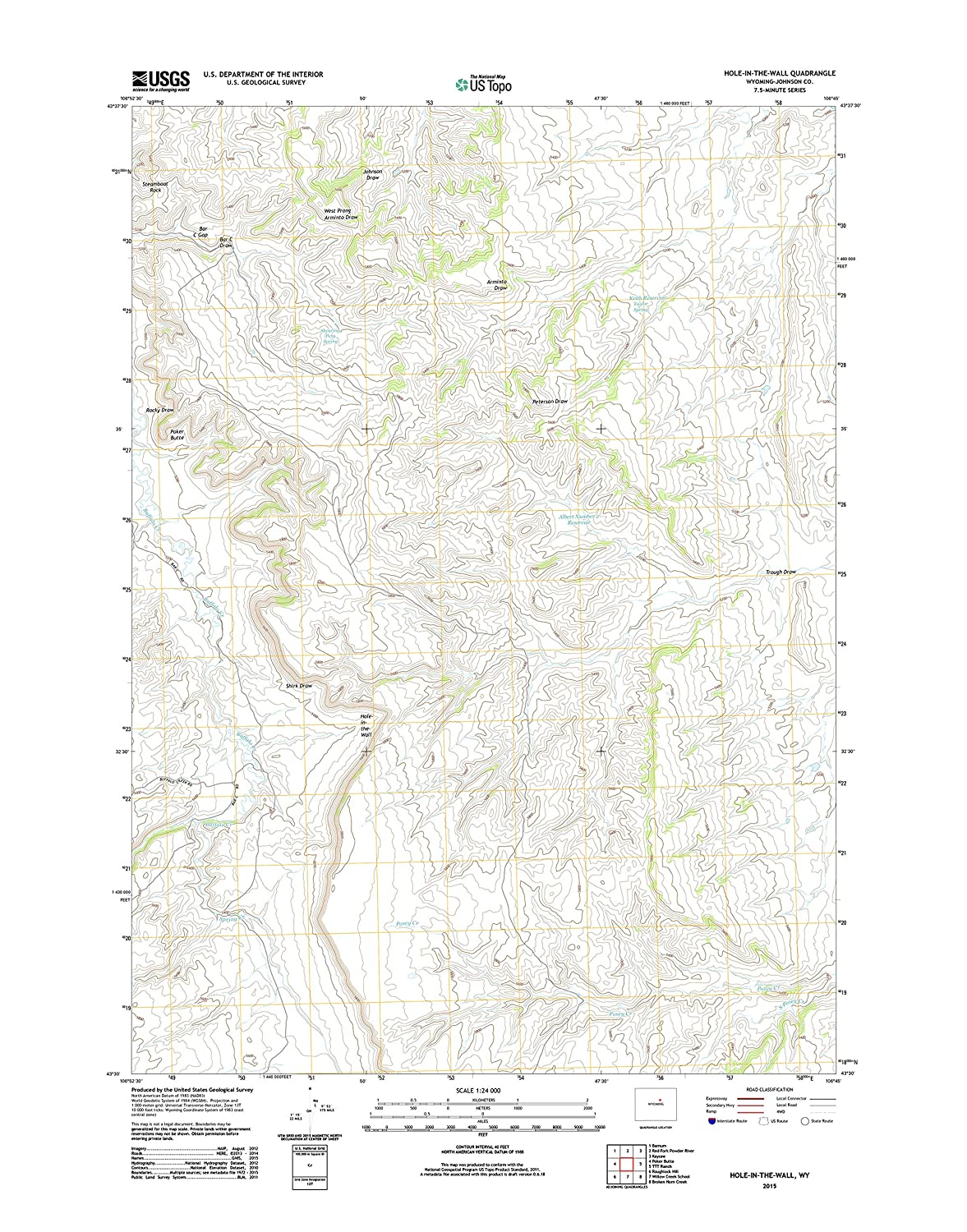 Amazon Com Topographic Map Poster Hole In The Wall Wy Tnm Geopdf
