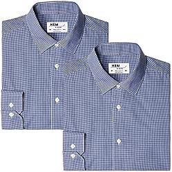 Hem & Seam Men's Regular Fit Gingham Formal Shirt, Pack of 2