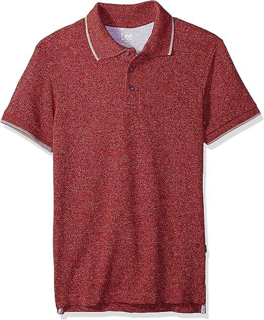 Lee Hombres Manga Corta Camisa Polo - Rojo - Medium: Amazon.es ...