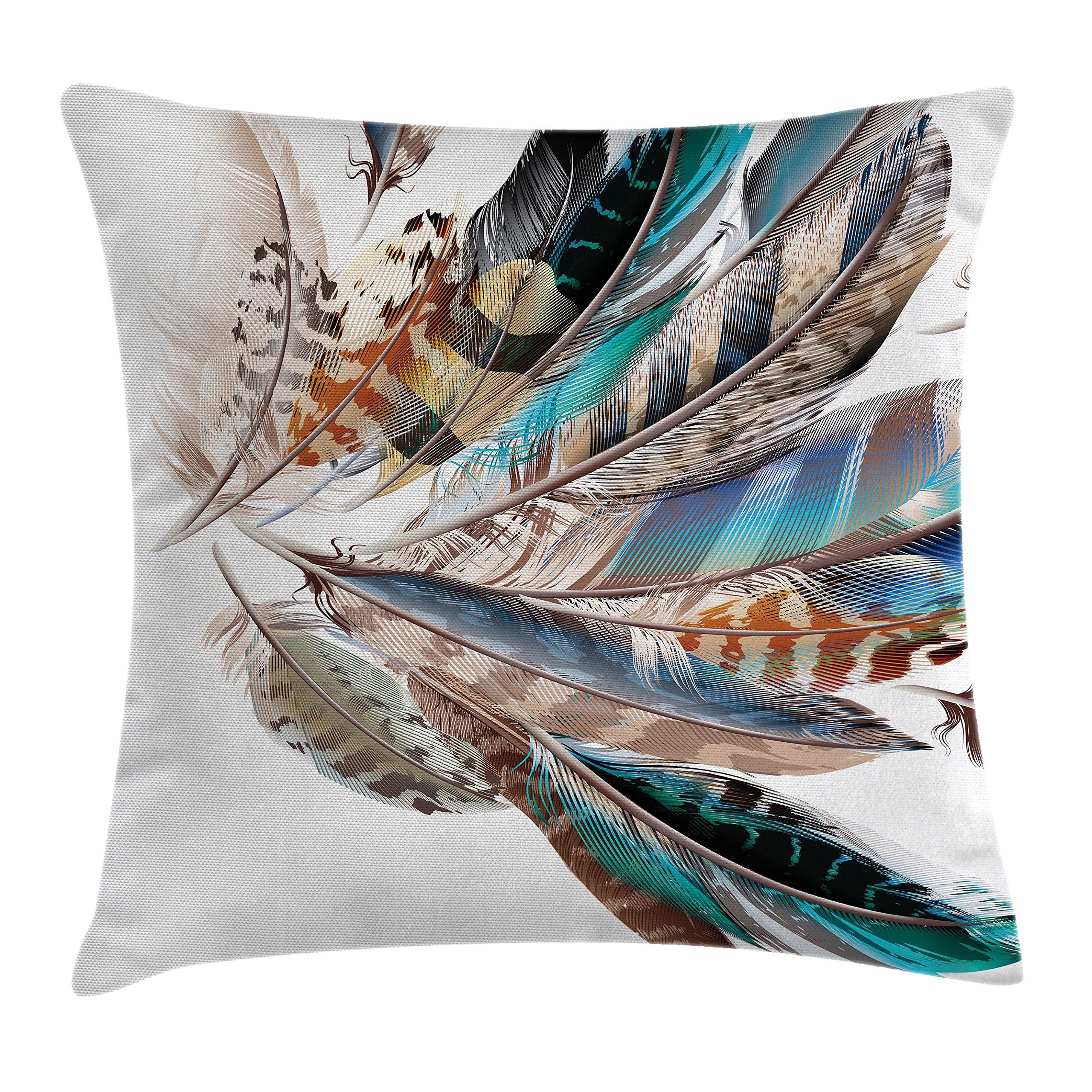 Ambesonne Feather House Decor Throw Pillow Cushion Cover, Vaned Types and Natal Contour Flight Feathers Animal Skin Element Print, Decorative Square Accent Pillow Case, 20 X 20 Inches, Teal Brown