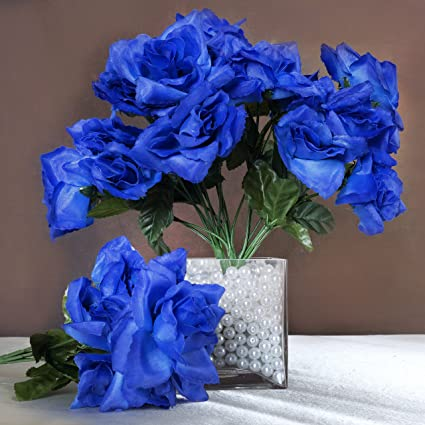 Amazon Balsacircle 84 Royal Blue Silk Open Roses 12 Bushes