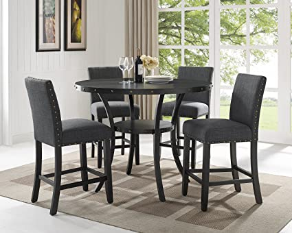 Roundhill Furniture P162GY Collection Biony Espresso Wood Counter Height Dining Set With Gray Fabric Nailhead Stools
