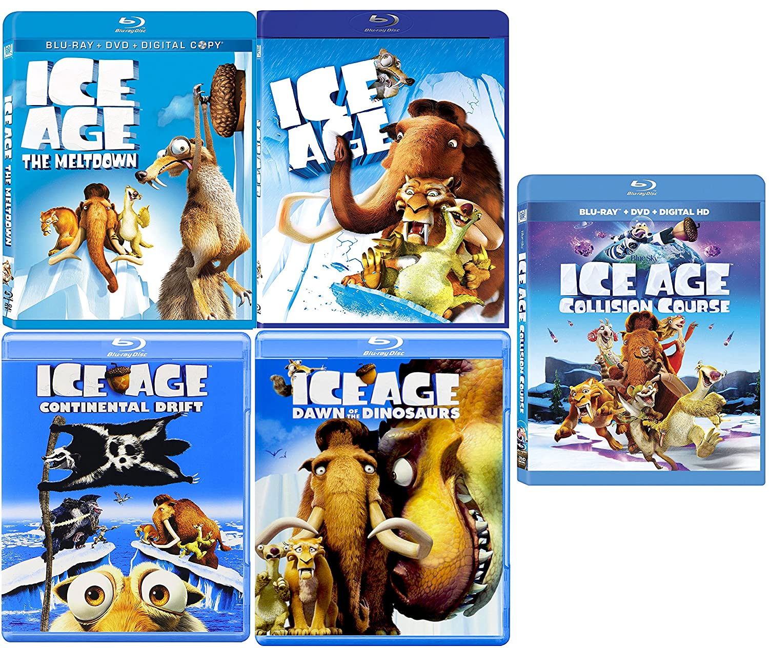 Amazon Com Ice Age Collection 5 Movie Collection Blu Ray Collision Course The Meltdown Continental Drift Dawn Of The Dinosaurs Cartoon Set Denis Leary John Leguizamo Ray Romano Goran Visnjic