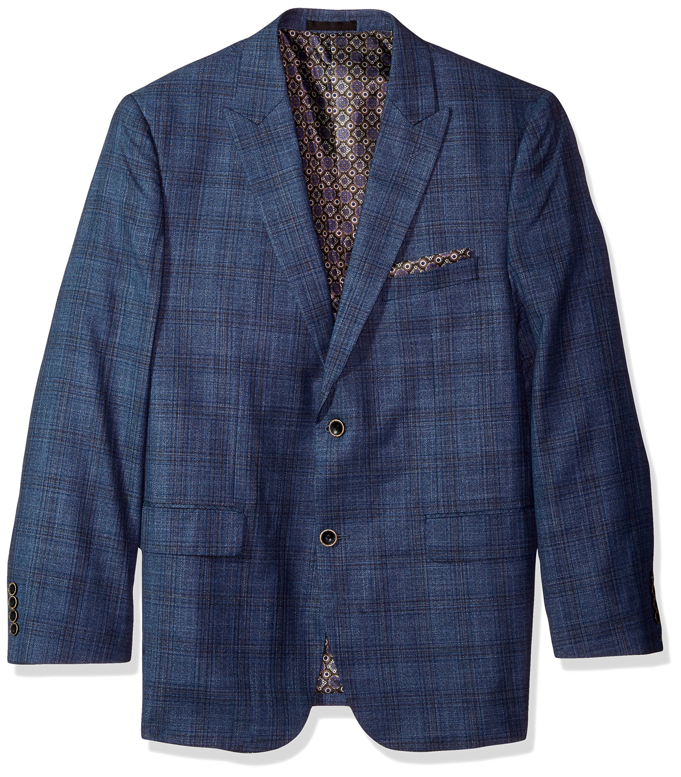 Alexander Julian Colours Men's Big and Tall Single Breasted Modern Fit Plaid Sportcoat, Blue Mix, 58 Regular